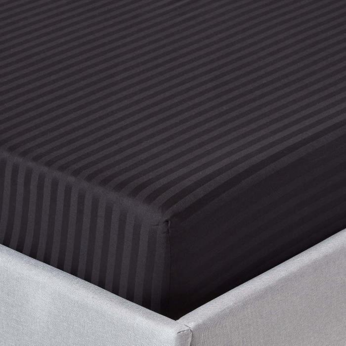 drap housse ray 180 x 200 cm 100 coton gyptien 330 fils coloris noir achat vente drap. Black Bedroom Furniture Sets. Home Design Ideas