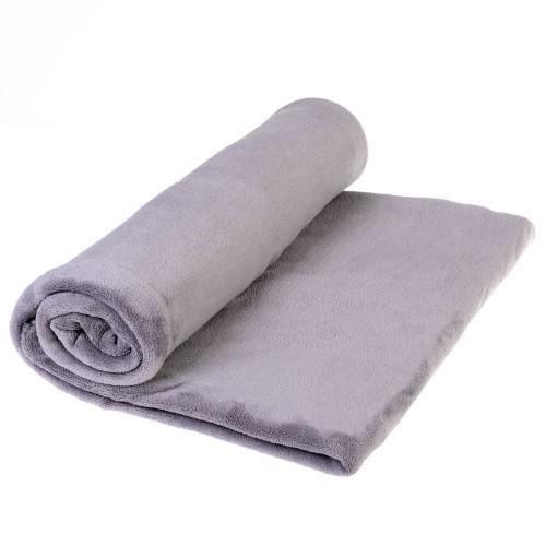 plaid microfibre gris clair achat vente couverture. Black Bedroom Furniture Sets. Home Design Ideas