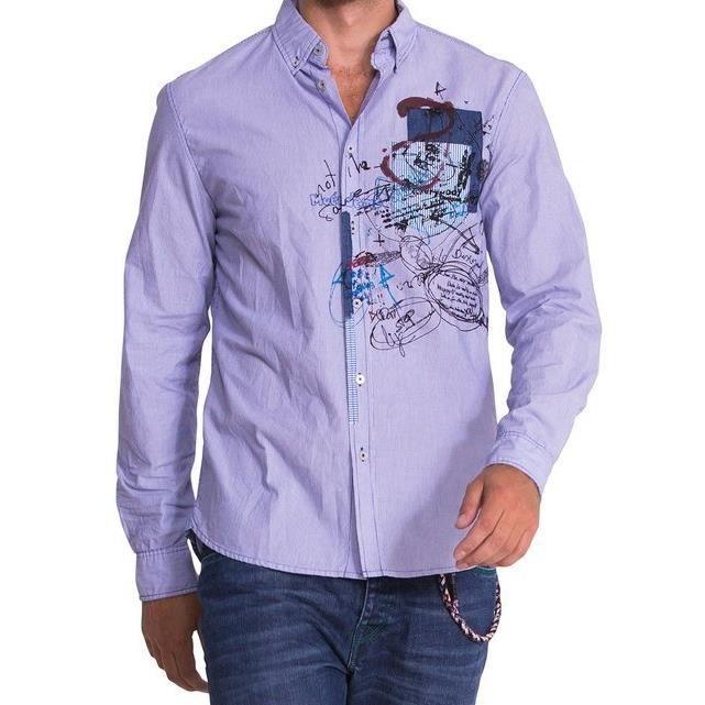 chemise desigual homme manches longues bleu achat vente chemise chemisette cdiscount. Black Bedroom Furniture Sets. Home Design Ideas