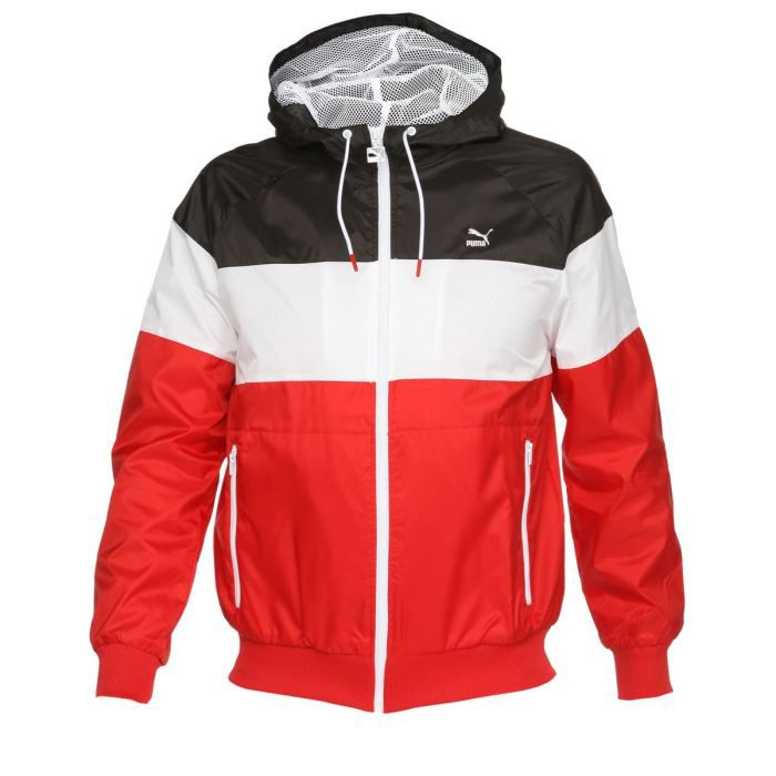 puma coupe vent sportswear homme rouge blanc et noir achat vente imperm able trench. Black Bedroom Furniture Sets. Home Design Ideas