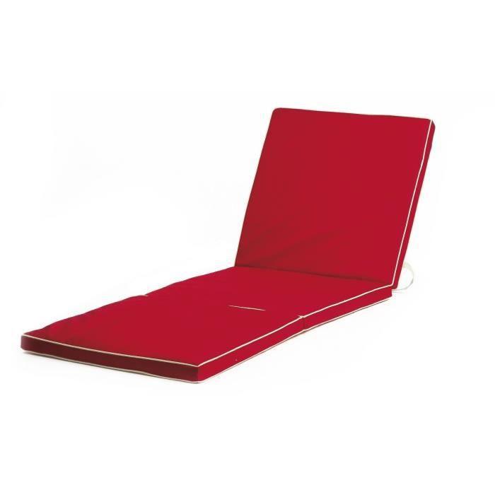 Bain de soleil transat 180x60x4 cm imperm able rouge - Coussin exterieur impermeable ...