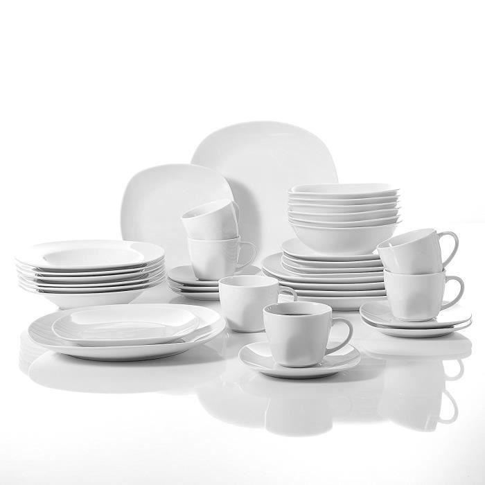 malacasa s rie elisa 24pcs service de table porcelaine assiettes plates dessert creuses. Black Bedroom Furniture Sets. Home Design Ideas