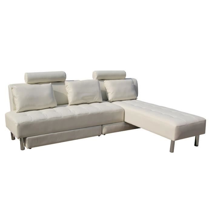 canap convertible blanc jasper achat vente canap sofa divan similicuir cadeaux de. Black Bedroom Furniture Sets. Home Design Ideas