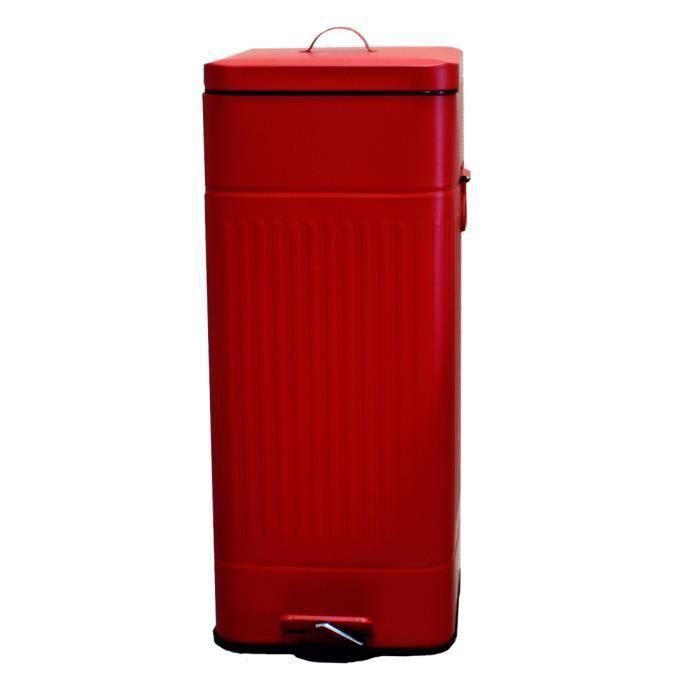 poubelle 30l vintage rouge mat achat vente poubelle. Black Bedroom Furniture Sets. Home Design Ideas