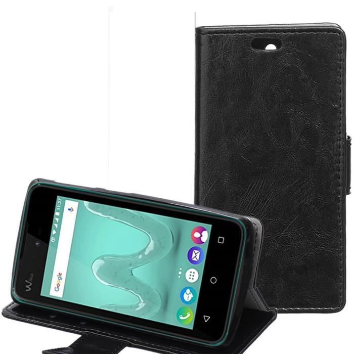Erdong luxe cuir housse pour wiko sunny coque noir cheval for Housse wiko sunny 2