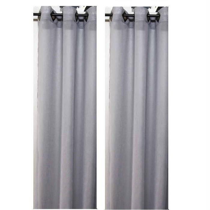 paire de voilages unis gris 140x240cm achat vente. Black Bedroom Furniture Sets. Home Design Ideas