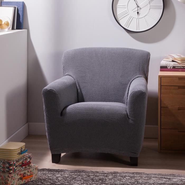 Housse fauteuil 1 place bi extensible lisa gris achat for Housse extensible fauteuil