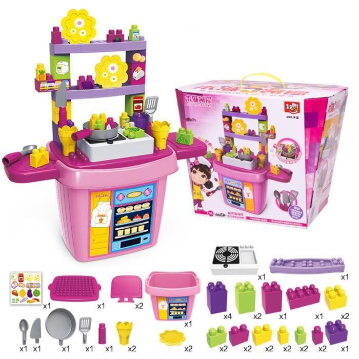 enfants set de jouets cuisine blocs cadeau de no l de b b achat vente dinette cuisine. Black Bedroom Furniture Sets. Home Design Ideas