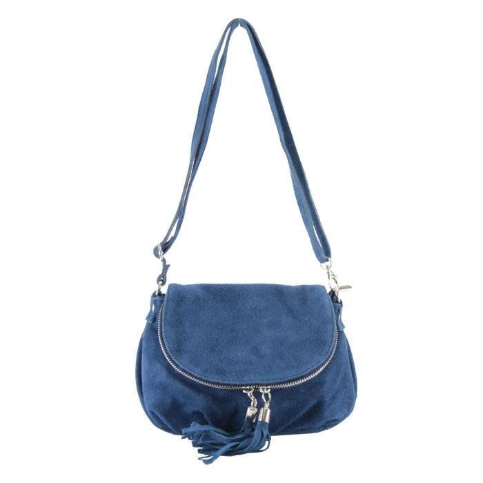 Grand Sac Bandoulière Bleu Marine : Sac bandouli?re femme cuir velours bleu marine