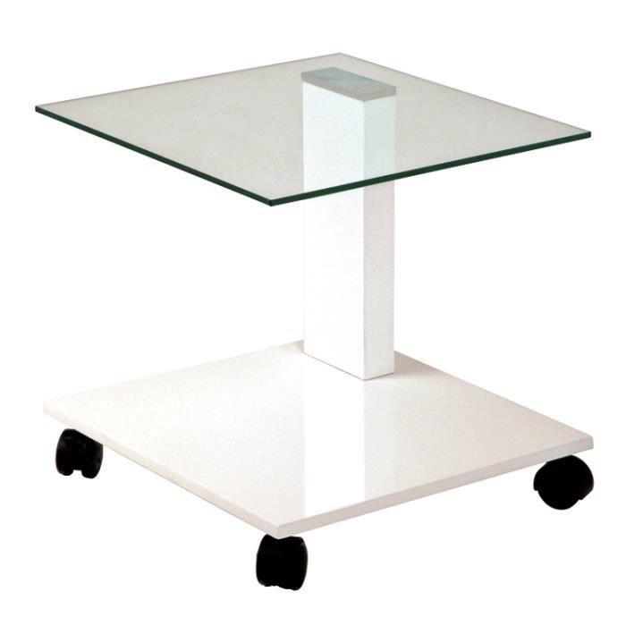 Table d 39 appoint en m tal laqu blanc brillant l45 x p45 x h45 cm achat - Table d appoint laque blanc ...