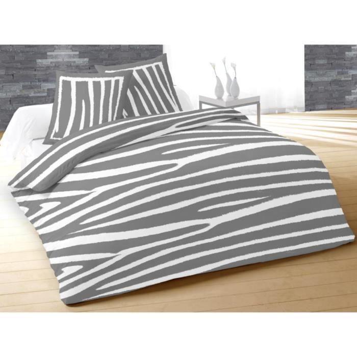 parure housse de couette coton grand lit 2 places zebre. Black Bedroom Furniture Sets. Home Design Ideas