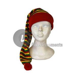 CHAPEAU , PERRUQUE Bonnet de nuit long rouge jaune vert