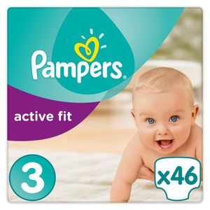 COUCHE PAMPERS Active Fit Taille 3 - 5 à 9 kg - 46 couche