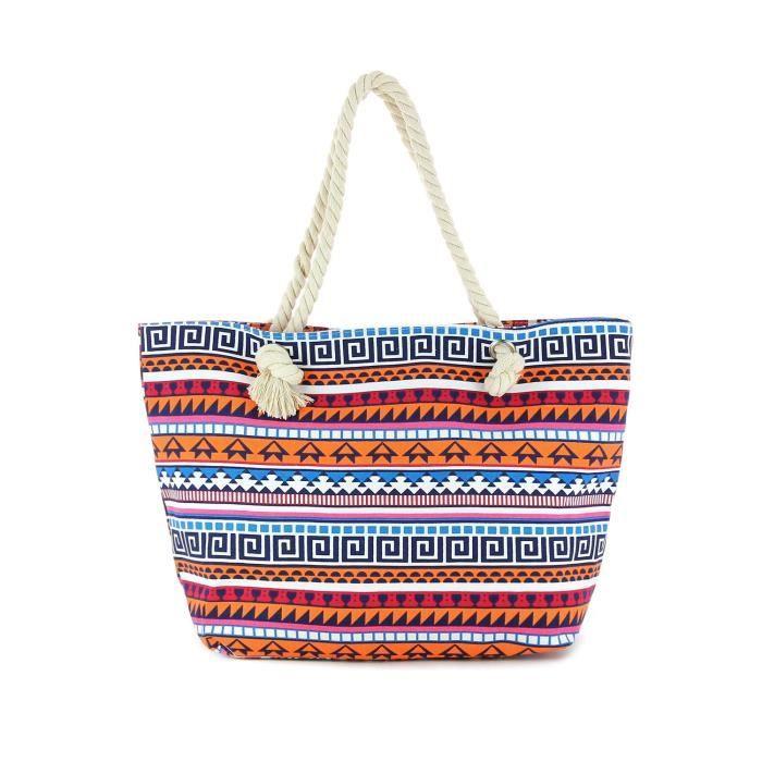 sac de plage imprim ethnique femme achat vente panier sac de plage 3613140280910. Black Bedroom Furniture Sets. Home Design Ideas