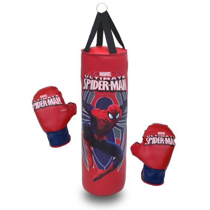 Spiderman punching ball sac de frappe 50cm et 1 paire de for Sac de frappe maison