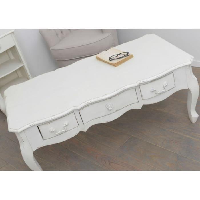 table basse 3 tiroirs blanc vieilli harpe amadeus blanc achat vente table basse table basse. Black Bedroom Furniture Sets. Home Design Ideas