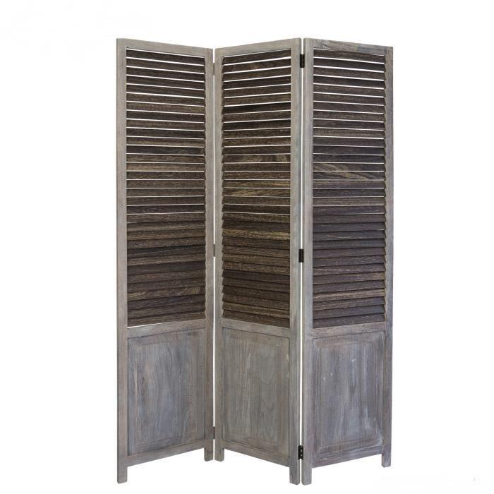 paravent 3 panneaux gris en bois achat vente paravent cdiscount. Black Bedroom Furniture Sets. Home Design Ideas