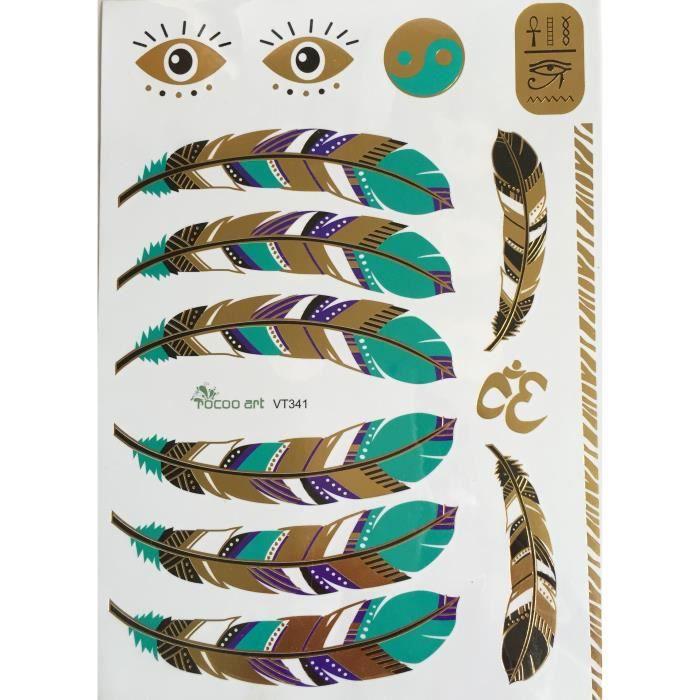 tatouages ph m res m tallique or plumes couleurs achat vente tatoo bijou de corps. Black Bedroom Furniture Sets. Home Design Ideas