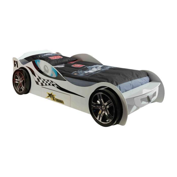 Lit voiture silverstone blanc achat vente structure de lit soldes d t - Lit voiture occasion ...