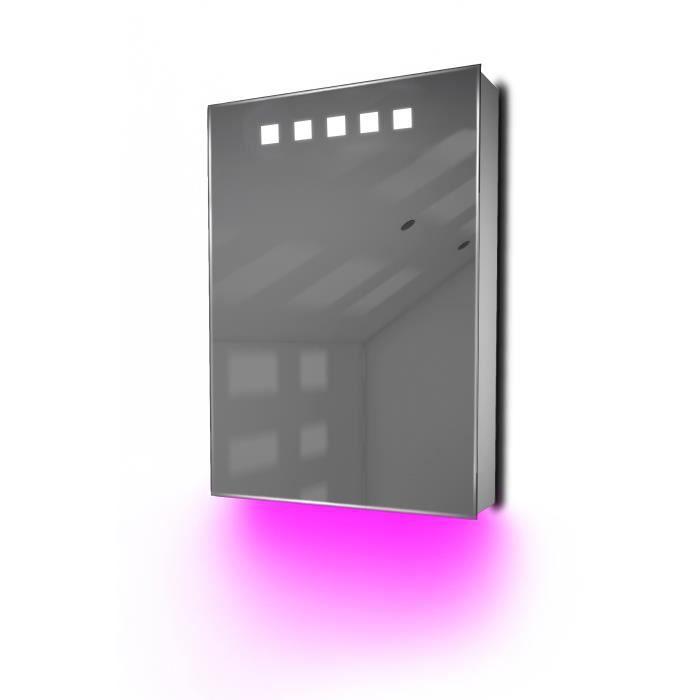 armoire de toilette anti bu e avec capteur et prise rasoir int rieure k393 gris achat. Black Bedroom Furniture Sets. Home Design Ideas