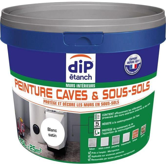 peinture cave sous sol contre l 39 eau 2 5l blanc satin. Black Bedroom Furniture Sets. Home Design Ideas