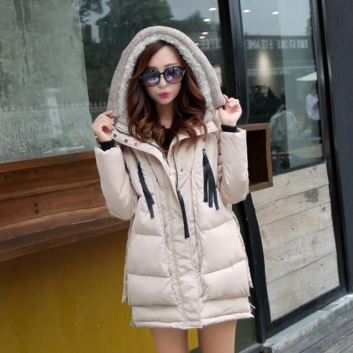 manteau femme parka hiver avec capuche kaki kaki achat vente parka cdiscount. Black Bedroom Furniture Sets. Home Design Ideas