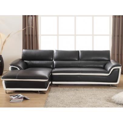 Canap d 39 angle en cuir merona noir angle gauch achat for Canape d angle noir cuir