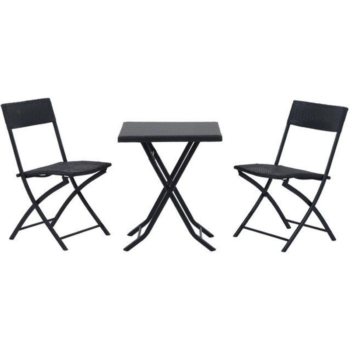 Ensemble meuble de jardin balcon bistrot table carr 2 - Chaise bistro fermob soldes ...