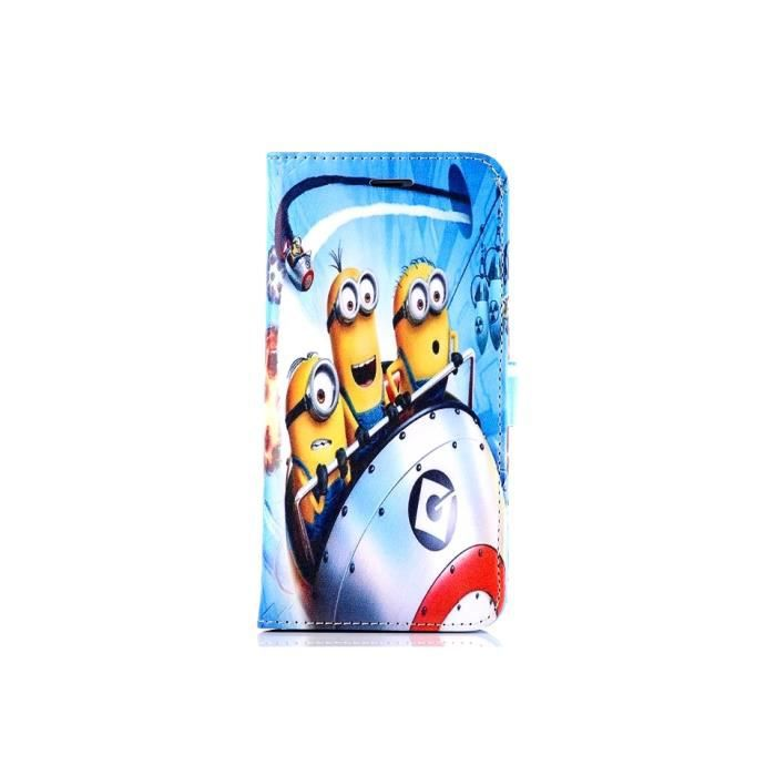 Iphone 5 5s etui housse coque minion en cuir portefeuille for Etui housse iphone 5