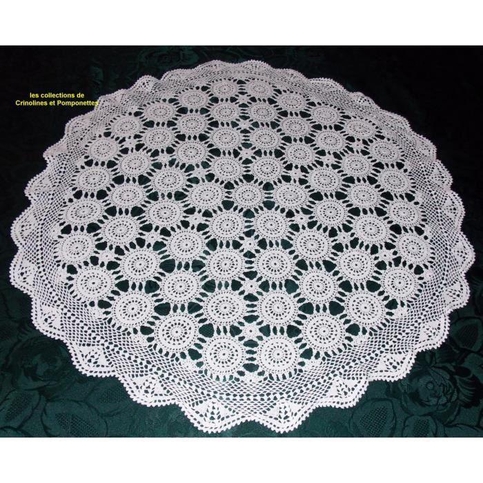 Napperon Centre De Table Crochet Main 75 Cm Blanc Achat Vente Chemin De Table Cdiscount