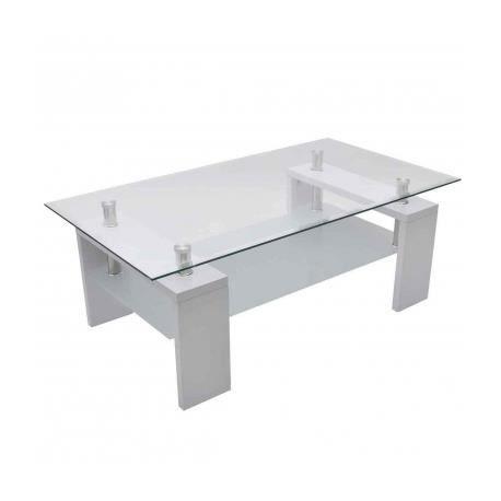 Table basse de salon en verre et mdf blanc laqu stylashop for Table basse de salon