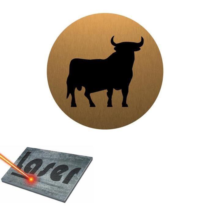Plaque grav e autocollante 8cm cm taureau espagnol fond for Plaque autocollante