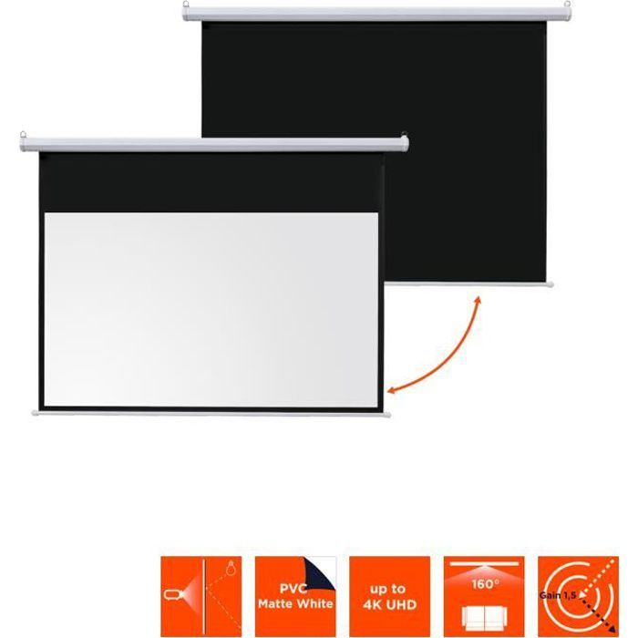 ecran de projection motorise ivolum 240 x 135 cm ecran de projection avis et prix pas cher. Black Bedroom Furniture Sets. Home Design Ideas