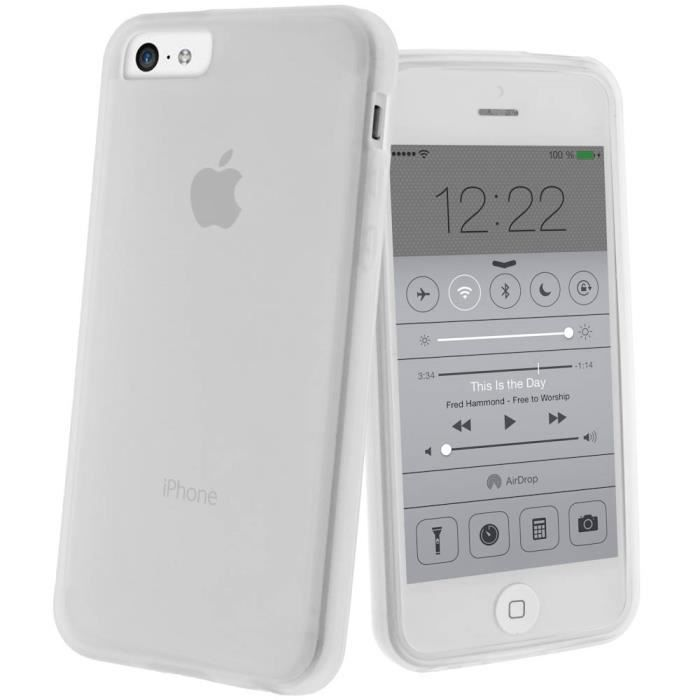 coque housse silicone gel apple iphone 5c blanc achat. Black Bedroom Furniture Sets. Home Design Ideas