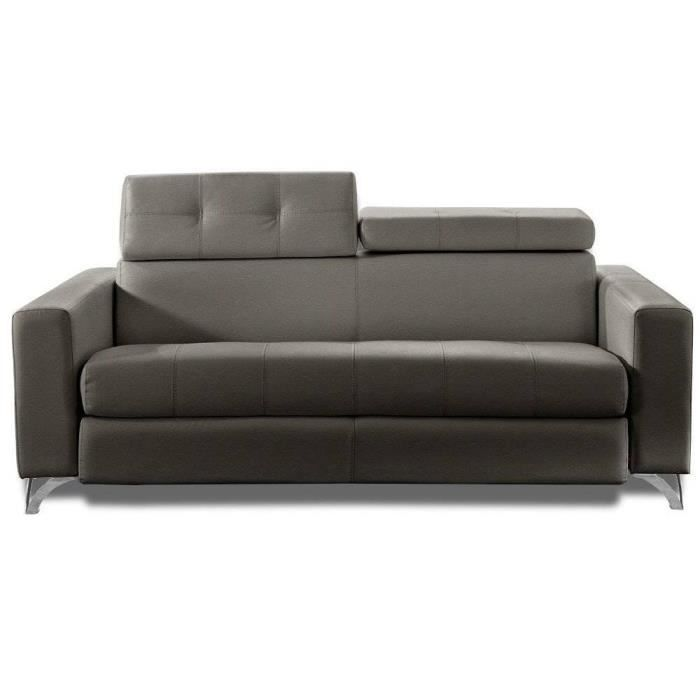 Canap convertible rapido delano 120 cm cuir taupe sommier - Canape convertible 120 cm ...