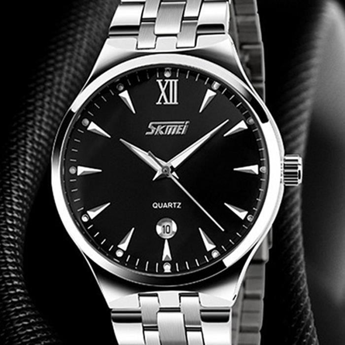 sharphy montre homme de marque bracelet en acier inoxydable aiguilles lumineuses quartz montres. Black Bedroom Furniture Sets. Home Design Ideas