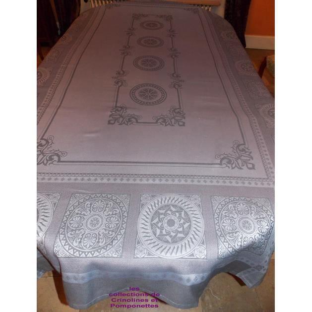 exceptionnelle nappe jacquard grise 180x400 achat vente nappe de table cadeaux de no l. Black Bedroom Furniture Sets. Home Design Ideas