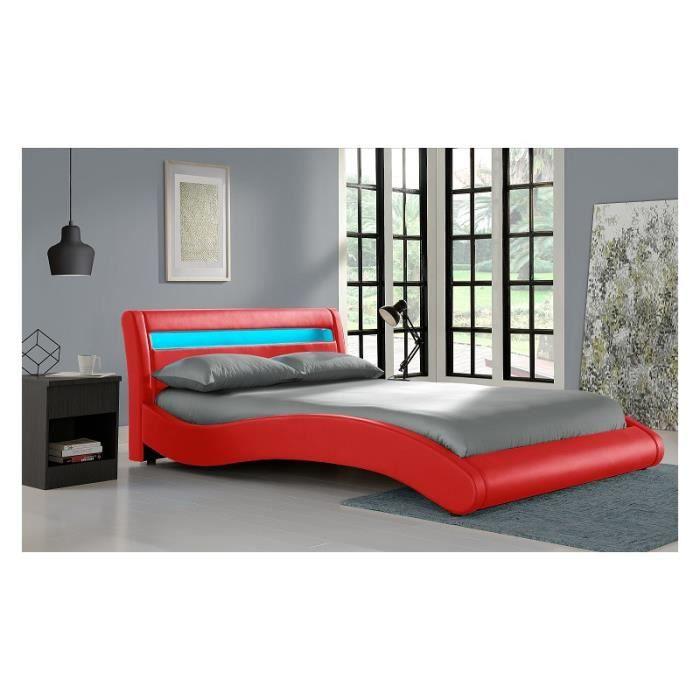 Lit red surf led 160x200 cm avec sommier achat vente lit complet lit red - Sommier avec rangement 160x200 ...