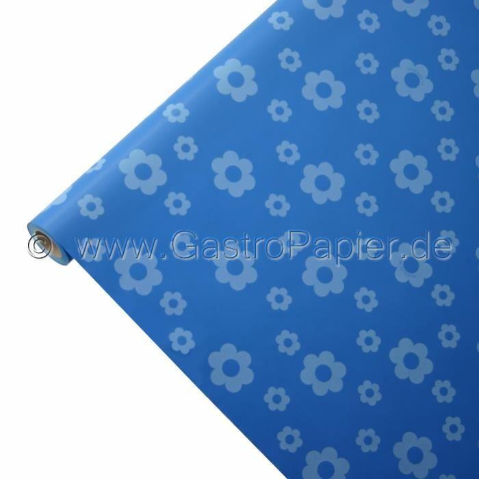 Nappe en papier 50m x 0 75m en fleur bleue tanche achat for Nappe et chemin de table en papier