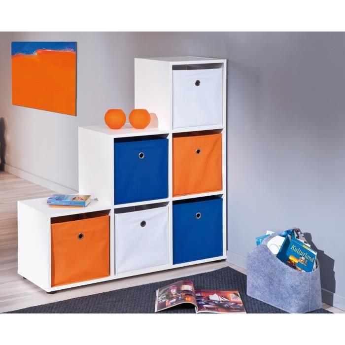 boite de rangement carr design coloris bleu achat vente boite de rangement cdiscount. Black Bedroom Furniture Sets. Home Design Ideas