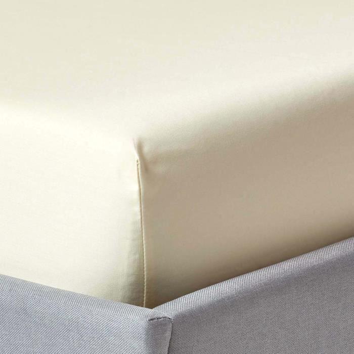 drap plat uni 100 coton gyptien 1000 fils coloris beige taupe 230 x 255 cm achat vente. Black Bedroom Furniture Sets. Home Design Ideas
