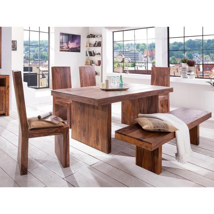 Table 200x100 avec 4 chaises et banc country ii massivum for Table salle a manger avec banc