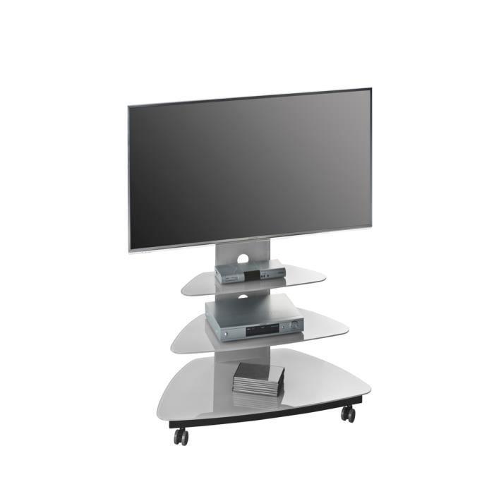 Meuble tv design m tal noir verre gris platine luzia achat vente meuble t - Meuble tv metal noir ...
