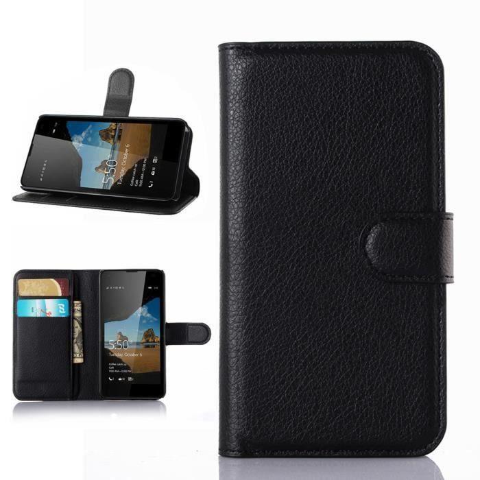 Wofalo pour microsoft lumia 550 4 7 inches noir flip for Housse lumia 550