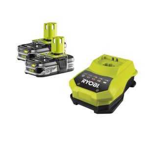CHARGEUR MACHINE OUTIL RYOBI Chargeur avec 2 batteries One+ 18 V 1,5 Ah