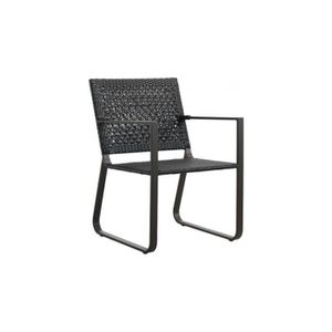 Chaises resine tressee gris anthracite achat vente for Fauteuil resine tressee gris