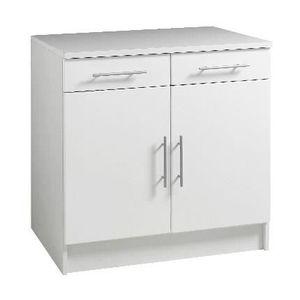 PETIT MEUBLE RANGEMENT  TRENDY Meuble bas 2 portes 2 tiroirs L80cm blanc