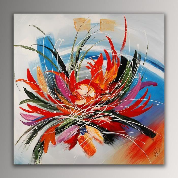 Fleur abstrait tableau moderne peint la main sur toile achat vente tabl - Tableau moderne discount ...