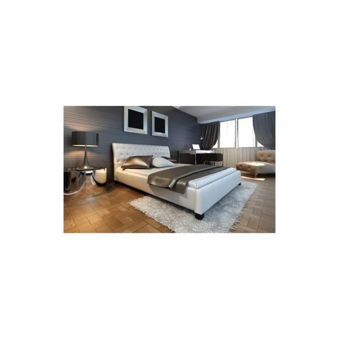 Lit blanc design capitonn 180x200 cm achat vente structure de lit cdis - Lit capitonne 180x200 ...