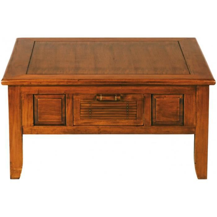 Table basse carr e acajou bambou achat vente table for Grande table basse carree